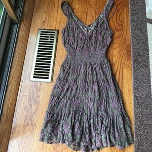 Free People Brown and Purple Lace Dress