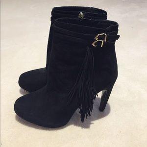 Sam Edelman black suede fringe ankle boots