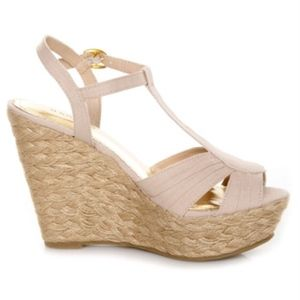 Bamboo natural linen t-strap espadrilles wedges