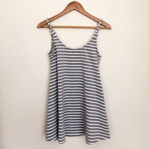Romwe Grey and White Striped Cotton Dress Size S