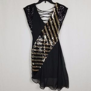 BEBE SEQUENCED LACE UP BACK BLACK DRESS