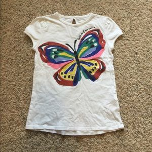 Butterfly shirt, white and colorful.