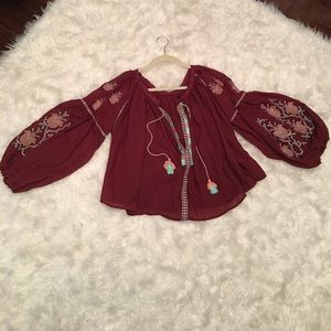 65ba6fa254a63 Tops - Embroidered balloon sleeves blouse