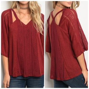 Tops - Burgundy 3/4 sleeve relaxed fit top