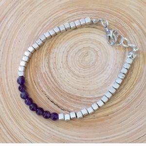 Jewelry - Amethyst silver cube bracelet