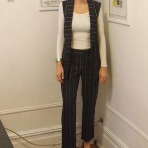pinstripe co-ords suit navy sleeveles jacket