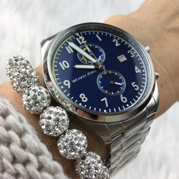 c3829e22081 Michael Kors silver   blue face chronograph watch