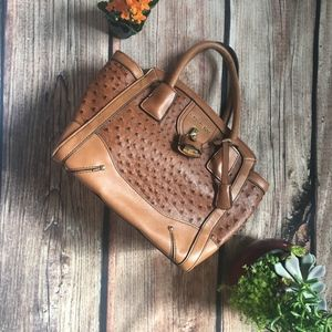 💚London Fog | Tan faux ostrich tote