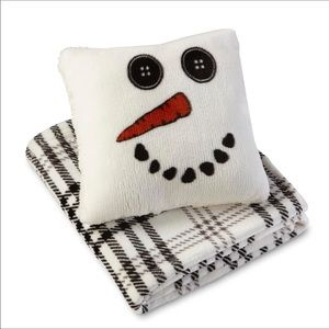 CANNON Snowman pillow Plaid Throw SOFT Red Bow