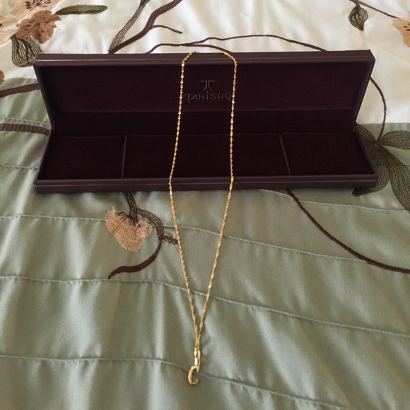"""India gold """"C"""" necklace with box"""