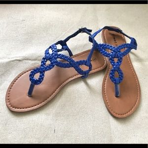 Wet Seal Blue Braided Strappy Sandals