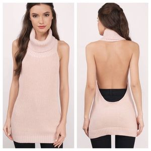 Tobi backless ribbed sweater, size Small