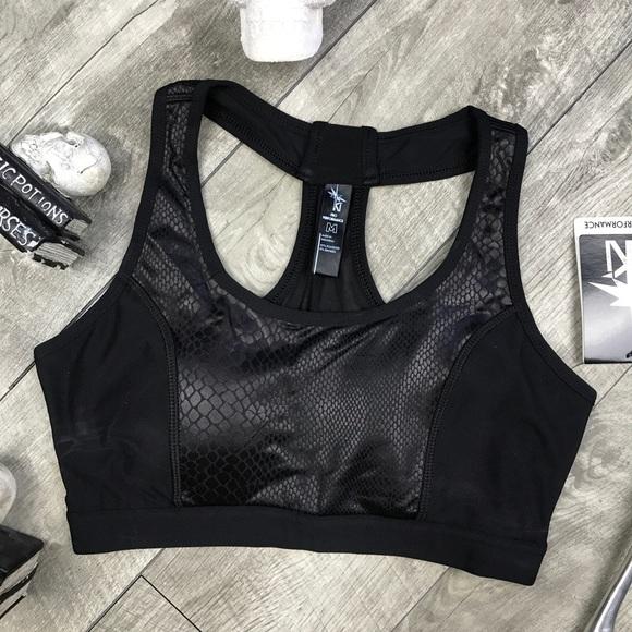 9df34315e6 Black leather snake skin sports bra mesh back