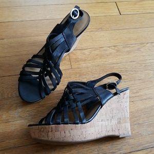 Franco Sarto black platform cork wedge sandals