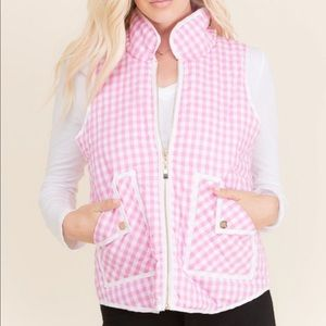 Jackets & Blazers - << Pink Checkered Plaid Puffer Vest >>