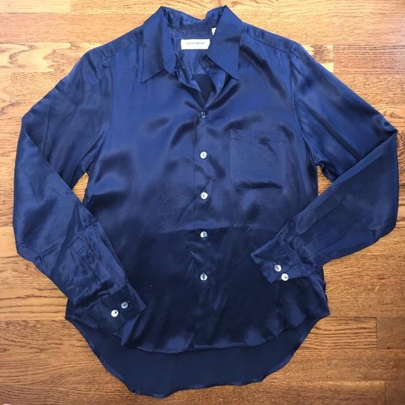 b6f1b241f8320 Equipment Tops - Equipment Navy Blue silk button down blouse top S