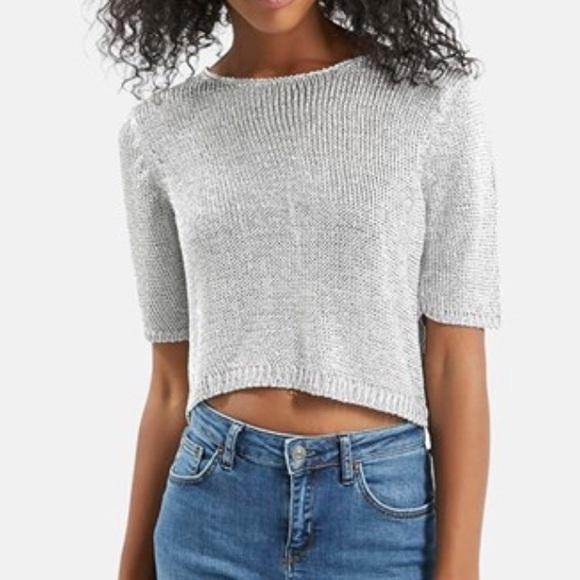 ecfec4da008ba Topshop metallic silver knit crop top. M 5a2350aa6a5830e6ed056a68
