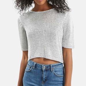 Topshop metallic silver knit crop top