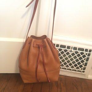 Jcrew brown pebble leather bucket bag