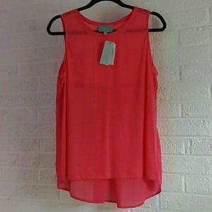 Sheer Backed Coral Scoopneck Tank