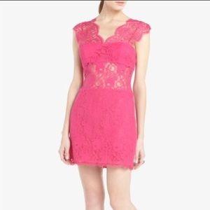 BCBG hot pink lace mini dress