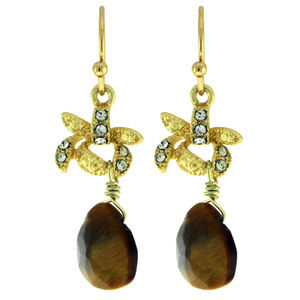 Drop Dangle Earrings With Brown Colored Bead