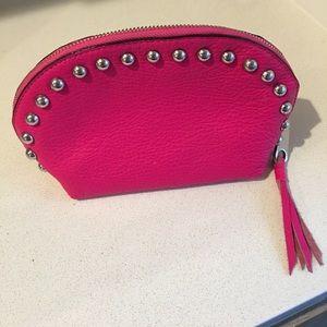 Pink leather Rebecca Minkoff cosmetic bag