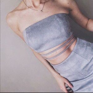 Tops - Suede gray strapless top