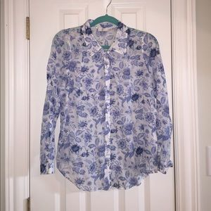 JOIE blue/ white floral button up