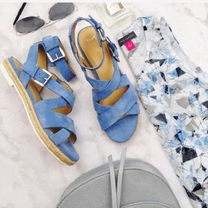 Marc Fisher Light Blue Suede Strappy Flat Sandals