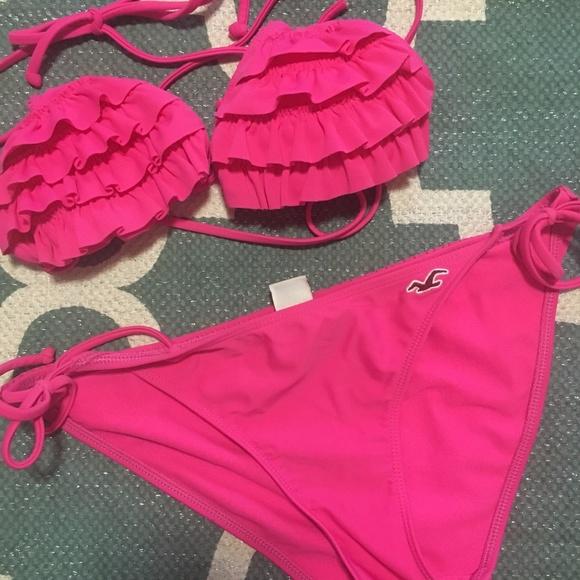 c958492385a Hollister Swim | Hot Pink Ruffle 2piece Bathing Suit | Poshmark
