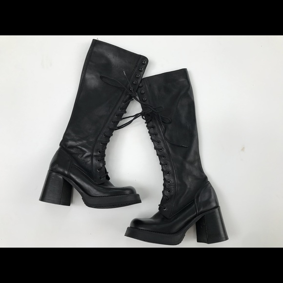 33faccc9b32a4 Vintage 90s Destroy Lace up Chunky Leather Boots
