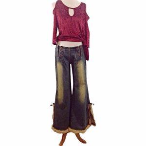 Crest Jeans w/Fur Lined Wide/Open Leg