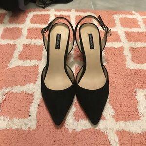 Black suede sling back heels