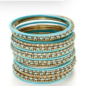 Cara 25 Gold Turquoise Bangle Bracelets
