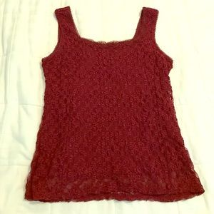 Coldwater Creek garnet/ruby lacey tank w/lining