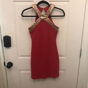 Dresses & Skirts - Gold Sequin Trim Red Bodycon Dress