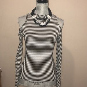 Black and white stripes long sleeve blouse