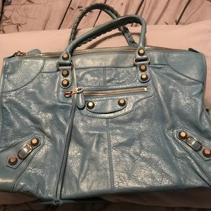 Balenciaga light blue motorcycle bag