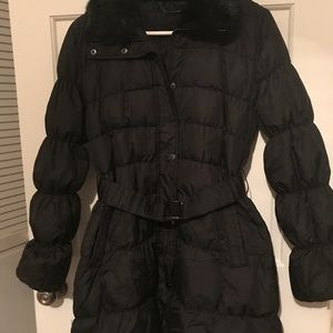 Long black feather parka with belt detail