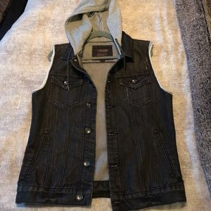 Men's Jean Hooded Vest