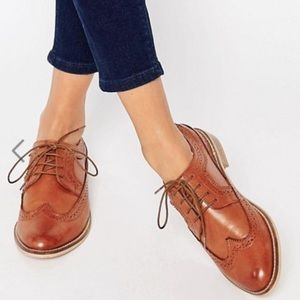 ASOS Wide Fit Tan Leather Brogues
