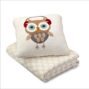 CANNON OWL PILLOW & Soft Throw Blanket Red Bow