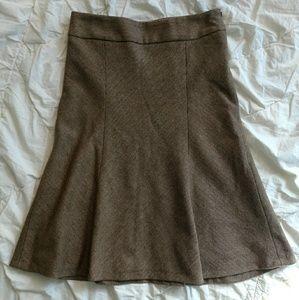 Zara Basic brown wool herringbone skater skirt