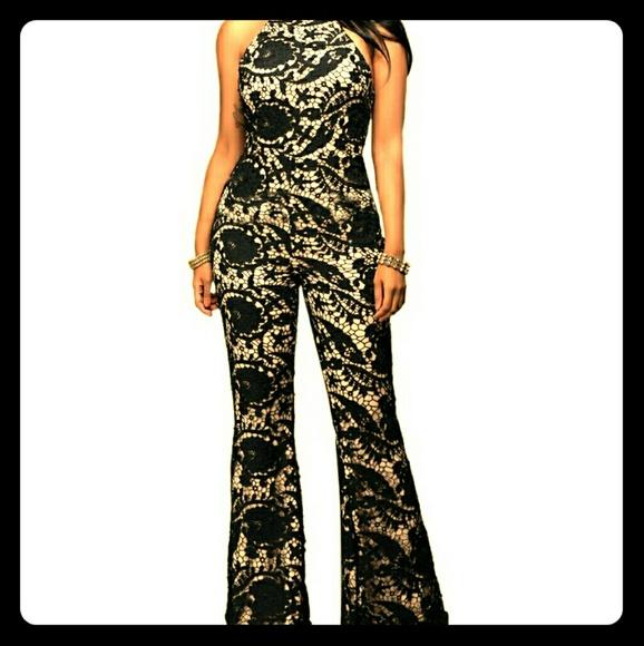 5d60d09851b3 Black Lace Open Back Flare Bottom Jumpsuit