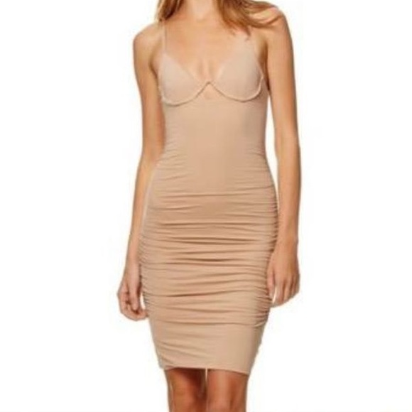 0727e66215 Kookai Chiara Nude Ruched Bodycon Midi Dress