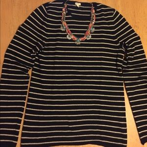 J. Crew Black and White Striped Sweater