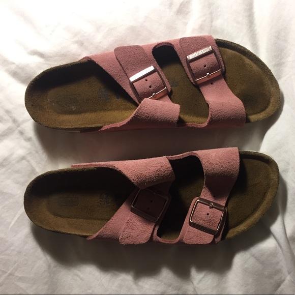 birkenstock arizona suede pink