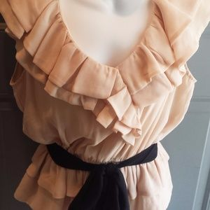 Nude Ruffled Blouse with Tie by Adiva - Size M