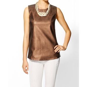 Bronze copper tank top shell faux vegan leather